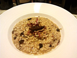 Red Radicchio and Prune Risotto with Creamed Goat Cheese