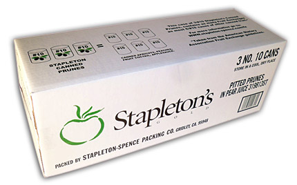 Stapleton's 3 - #10 case of Prunes (Dried Pitted Plums) in Juice