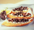 Dried Plum and Gorgonzola Crostini