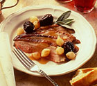 Roast Duckling with Dried Plums and Pearl Onions